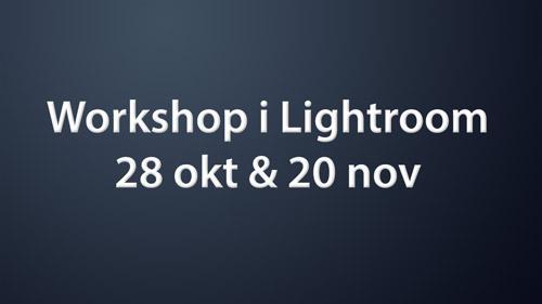 Workshop i Lightroom - 28 okt och 20 nov